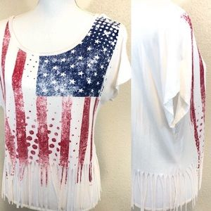 Forever 21 American flag print tee with fr…
